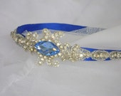 Crystal Bridal Headband lined in rich, Royal Blue satin featuring a marquise cut crystal in Royal Blue.