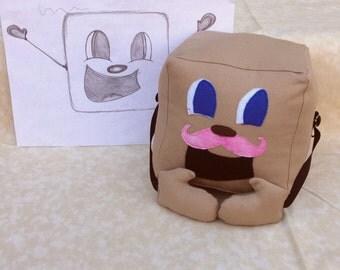 "Tiny Box Tim Plushie!  Pink Warfstache, Mustache, Plush Toy. 5.5"" cube, Pillow. Markiplier Youtube"