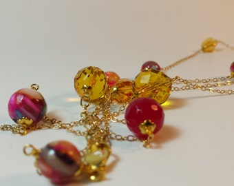 Genuine Citrine, Fuchsia Agate and Mosaic Shell on 14 k Gold filled chain