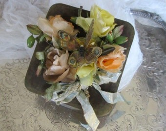 Vintage Faille Box, Vintage Flowers, Butterfly Brooch, Ribbon