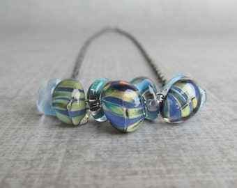 Blue Necklace, Ocean Necklace, Boro Teardrop Necklace, Blue Lampwork Necklace, Oxidized Necklace