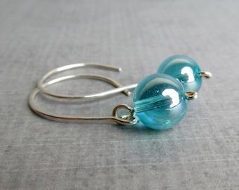 Aqua Blue Dangle Earrings, Sterling Silver Dangles, Silver Earrings Aqua, Blue Earrings, Glass Earrings Blue, Blue Glass Dangles Silver