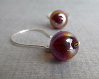 Berry Earrings, Ruby Red Dangle Earrings, AB Red Earrings, Glass Earrings, Sterling Wire Earrings