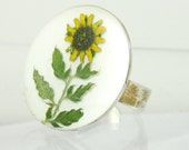 Sunflower on a Ring, Pressed Flowers, Adjustable , Real Flowers, Silver Plated Brass, Resin (1525)