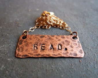 Read. - For Book Lovers - Bibliophiles - Readers and Writers - Gift Under 50 - Salvaged Recycled Materials - Type - Stamped