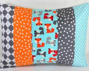 Pillow Cover, Unisex Nursery Decor, Boy or Girl Room, Woodland Animals, Foxes, 12 x 16 Inches, Nursery Pillow Cover,Fox, Aqua, Orange, Gray