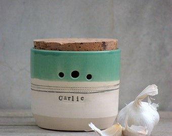 garlic jar cork lid  kitchen garlic canister handmade ceramic