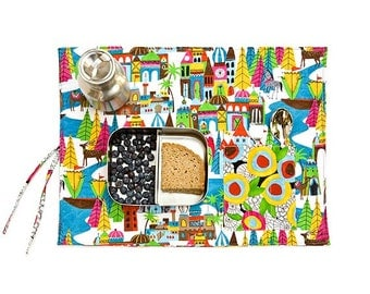 Placemat with silverware pocket with mytical land fabric. Colorful place mat handmade with organic fabric. Holiday gift for her.