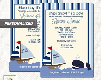 Ahoy Mate! It's a boy Blue Whale and Sailboat Nautical Baby Shower Invitations, Printed or Printable