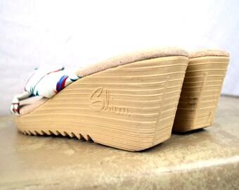 Vintage 80s Wedge Sbicca Tropical Platform Sandals - Size 9