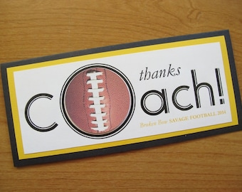 Thank You Coach Card/Football Coach Card/Personalized Thank You Card