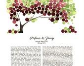 Watercolor Ketubah Calligraphy - GREEN PURPLE CHUPPAH - Tree of Life Custom painted Ketubah