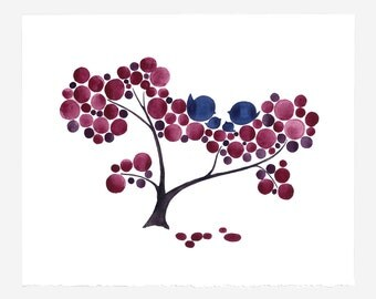 Anniversary Gift - PLUM FAMILY TREE - Giclee Art Print Reproduction of Watercolor Painting -Trees of Life Collection