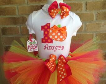Hot pink, orange and lime Custom Boutique Personalized Birthday Pumpkin Tutu set