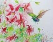 Hummingbird art, hummingbird painting print, original abstract watercolor, Columbine painting, 5 x 7 print, wall decor, bird painting