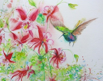 Hummingbird signed giclee watercolor print, hummingbird painting, original abstract watercolor, Columbine painting,wall decor, bird painting