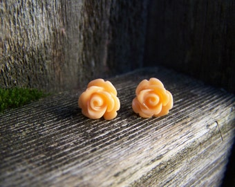 Light Orange Rose with Sterling Silver Post Earrings
