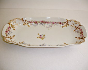 L.S.& S. Limoger France Celery Dish Bowl Vintage China Shabby Cottage