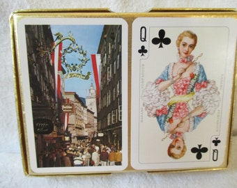 Vintage Piatnik playing cards double deck Salzburg Austria souvenir