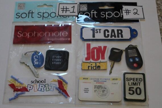 SOPHOMORE FIRST CAR Soft Spoken Scrapbooking Supplies stickers - Keys, Car, Study, License