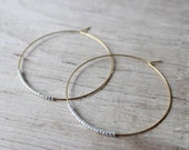 Gold and Silver Seed Bead Hoop Earrings, Large Gold Plated Earrings, Hoop Earrings, Gold Hoops, Also Available in Silver