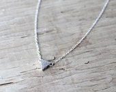 Sterling Silver Pave Triangle Necklace, Sterling Silver Chain