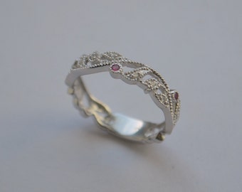Floral Eternity Band with Millgrain, 14 K White Gold with Burma Spinel and Diamonds