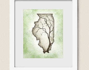 8 x 10 Illinois State Art Family or Living Room Decor, Earth Tones Brown and Green Tree Wall Art Print (357)