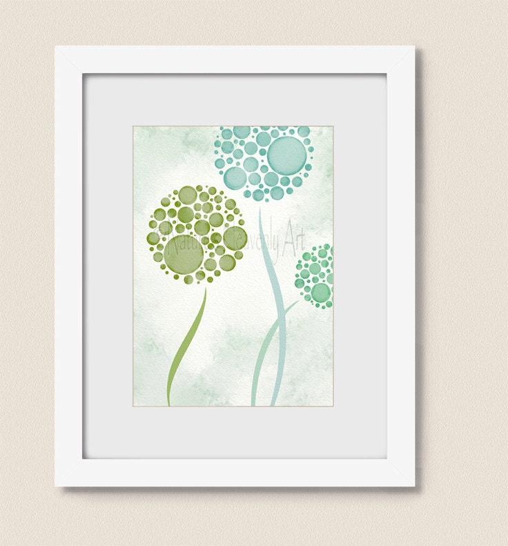 Teal Green Wall Decor : Teal green wall decor living room print dandelion