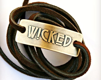 Copper Wrap Bracelet - WICKED, Etched Metal, Horror, Handcrafted, Can be Customized