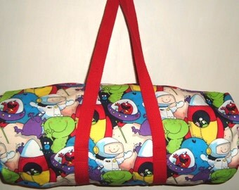 Boy Duffle Bag  with Aliens and Astronauts