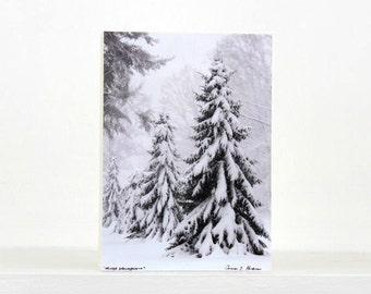 Winter Trees, White Christmas Decoration, Snow, Holiday Decor,  Evergreen Trees, 5X7 Wood Panel, Small Shelf Art, Wall Hanging