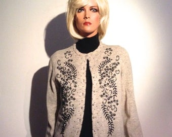 Vintage 1950 Beaded Sweater.  Lamb's wool & Nylon.  Size 38. Hong Kong.  Grey, Dark Pewter color Beading  Rockabilly, Sweater Girl, Mad Men.