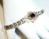 Sterling Silver and Amethyst Fine Italian Riccio Link Bracelet on Etsy by Apurplepalm