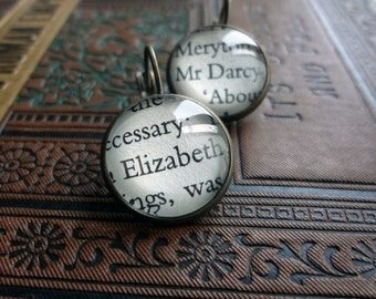 Jane Austen Earrings, Elizabeth and Darcy Earrings, Pride and Prejudice Jewellery, Literature Gift, Book Lover Gift Idea
