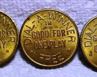 Three Vintage Dial A Winner Good for One Play Coins / Tokens