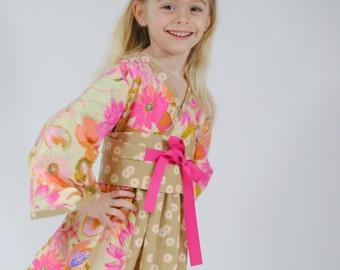 Girls Kimono Dress, Flower Girl Dress,  Party dress, Toddler dresses, Japanese Kimono, Birthday dress, pink, size 2T, 3, 4, 5, 6, 7, 8