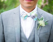 The Beau- men's aqua/gray/lime plaid freestyle self-tie bow tie