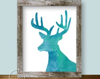 Turquoise Deer Watercolor Silhouette Printable Art 8x10
