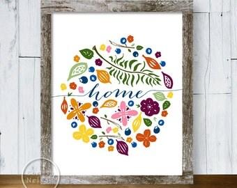 Home Wreath Berries Ferns Flowers - Printable Art 8x10