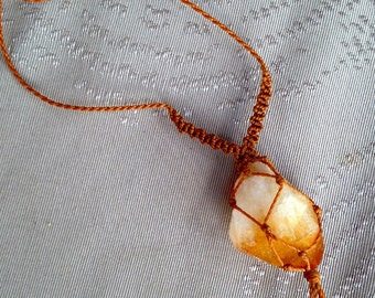 Citrine crystal quartz point wrapped with macrame string