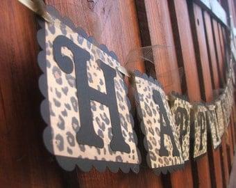 Leopard Print HAPPY BIRTHDAY Banner - Black and Leopard Print Sign - Women's Birthday Hanging Sign