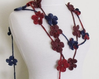 Multicolor Lariat- (2) Scarf- Necklace Hand Crochet-Ready For Shipping