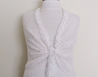 White Mohair Bridal Wedding Romantic Shrug Capelet Shawl--Ready for shipping