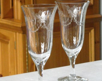 Vintage Etched Parfait Stem Glasses, Set of Two Halllmarked Hawkes Glassware, Fruit Swag Garland, Crystal Milo 4011 pattern Dessert Glass