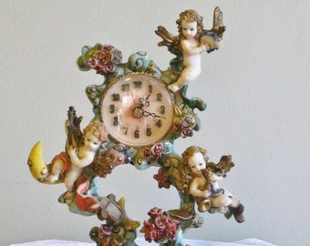 Vintage Angel Figurine Clock with Roses and Instruments Working Battery Operated Clock