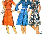 Style 4744 Vintage 1970s Zip Front Dress Pattern Collar & Inverted Pleat Bust 43