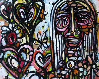 Graffiti Girl Original Canvas Painting...Interior Graffiti Series
