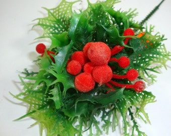 Vintage Christmas Floral Pick, Flocked Red Holly Berries, Plastic, New Old Stock, Made in Hong Kong  (895-14)