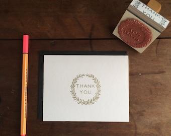 Vintage Floral Wreath Thank You Stamp - DIY Thank You Card - Handmade - Modern Font Typography - Feminine Floral Vintage Style